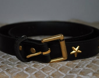 Black Waist Belt with Gold Stars