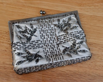 Beaded Silver Evening Clutch