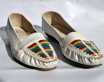 White and Rainbow Loafer size 9