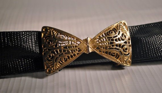 Vintage Black Lizard Texture Waist belt Belt with Metal Bow Clasp