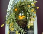 "Spring Summer Grapevine Oval Wreath Basket Decor...""Lemons"""