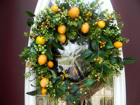 Boxwood Lemon Berry...Door Hanging Grapevine Wreath