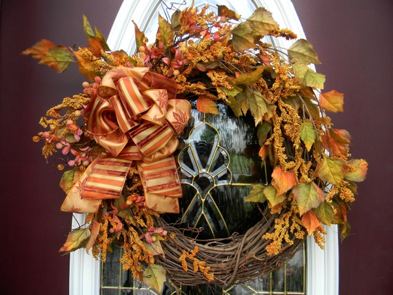 """Thanksgiving Fall Wreath Grapevine Door Wall Decor..""""Breezy Autumn Leaves""""..FREE SHIPPING on all Fall Designs"""