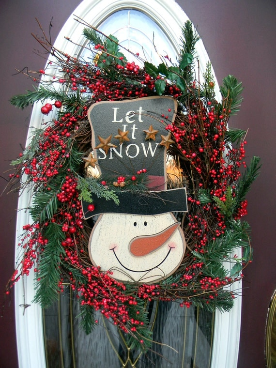 Christmas Holiday Grapevine Snowman Door Wreath