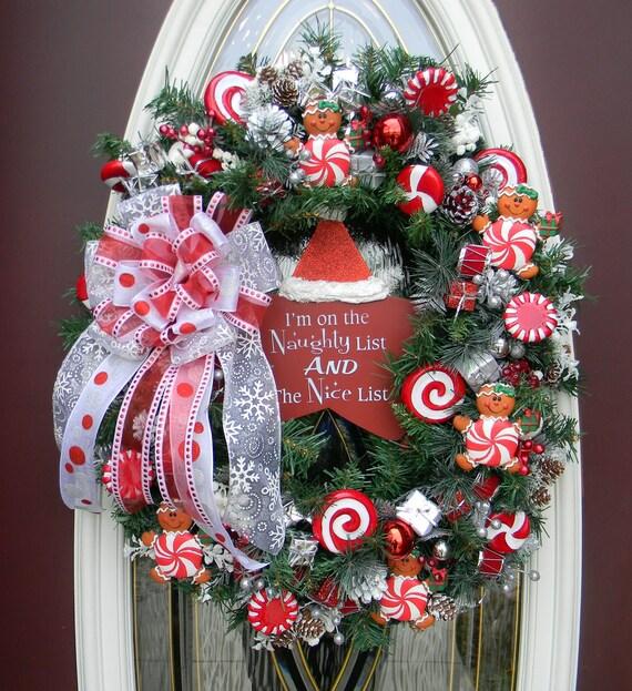 """Christmas Door Wreath Decor..""""Peppermint Gingerbread""""..OOAK"""