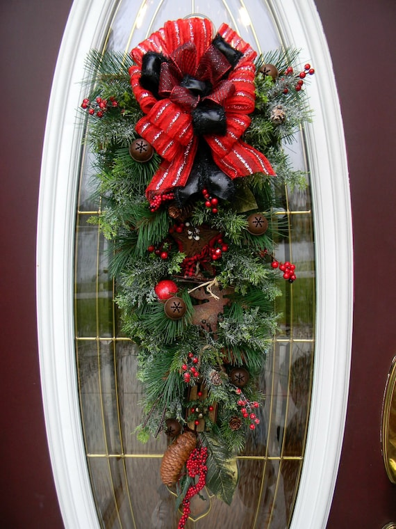 """Christmas Wreath Vertical Door Teardrop Swag Decor..""""Moosey""""..OOAK"""