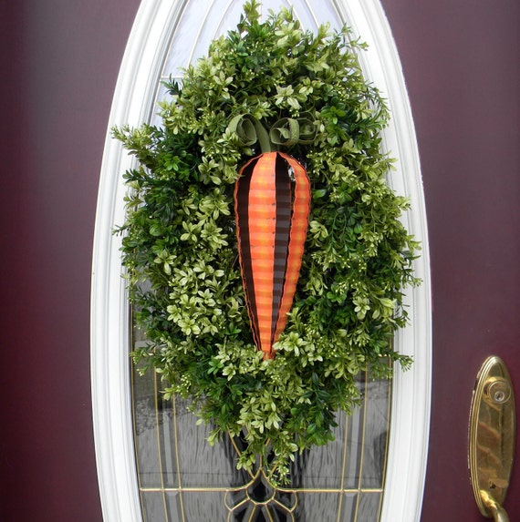 "Easter Wreath Spring Wreath Grapevine Door Oval Wreath Decor..""Carrot-Licious"" Two In One Wreath"