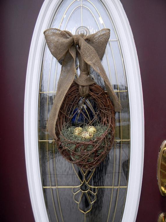 "Spring Easter Grapevine Door Wreath Basket Decor...""Yellow Spring Eggs"""