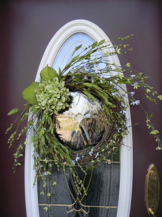 "Grapevine Door Wreath Decor..""Wild Hydrangea"".. Ready to Ship"