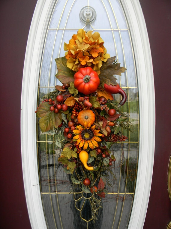 """Fall Twig Vertical Swag Door Decor..""""Fall's Embrace"""""""