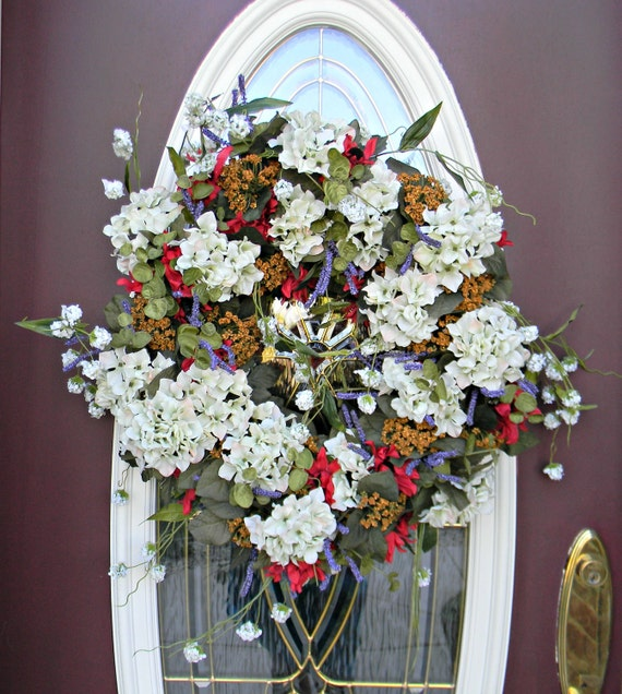 "Spring Wreath Summer Wreath Grapevine Door Wreath Decor..""Hydrangea Mix""..Use all Year Round.. Ready to Ship"