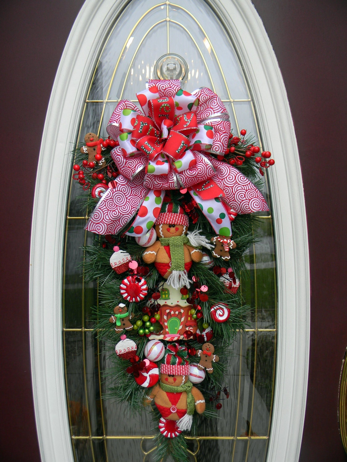 Christmas door wreath teardrop swag decor gingerbread for Door garland christmas
