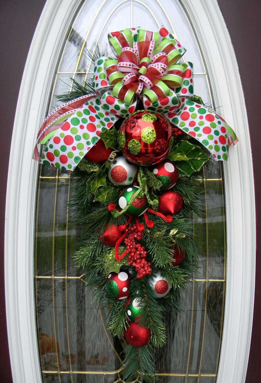 Teardrop Vertical Door Swag Wreath Decor Polka Dot