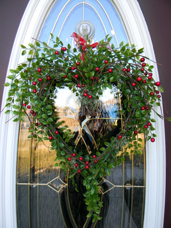 Grapevine Heart Door Wreath Decor Berry Kisses