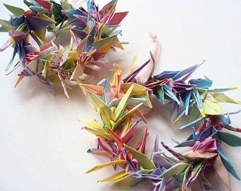 SALE Origami Crane Wreath Ornaments - Set of 2