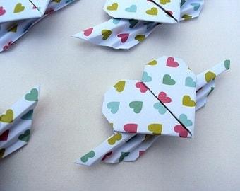 SALE 17 Rainbow Origami Winged Hearts