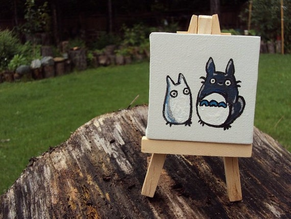 Dust Buddies (My Friend, Totoro) on mini canvas and easel