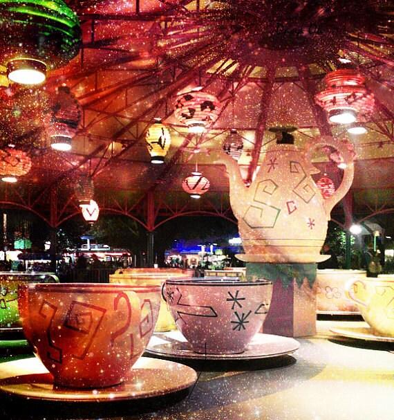 "The Tea Party. 5x5"" Fine Art Photography. Fairy Tale. Alice in Wonderland. Disney World. Tea Cups."