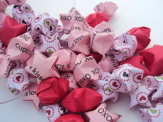 SALE 100 Valentine Hearts Origami Stars