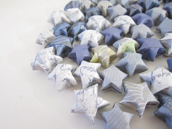 100 Dusty Blue Love Letters Origami Stars