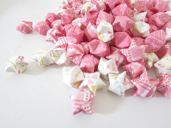 LAST SET 100 Mulan Cherry Blossoms Origami Stars. Plaid. Floral