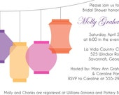 Printable Japanese Lanterns Bridal Shower / Rehearsal Dinner Invitations (In Any Colors You Request)
