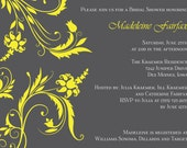 Printable Floral Swirl Bridal Shower Invitations (In Any Colors You Request)