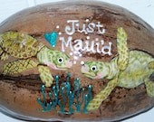 Just Maui'd Coconut Postcard, Wedding Gift, Anniversary Gift, Wedding Announcement, Wedding Card, Just Married, Turtles
