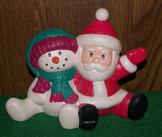99 cent Sale -- Ceramic Santa & Snowman