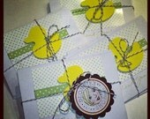 ON SALE - 8 in stock - Yellow Ducky and Pale Green Polka Dots hand stamped Thank You Cards