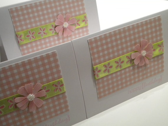 ON SALE Pink and Green Flower Happy Birthday Card  - set of 2