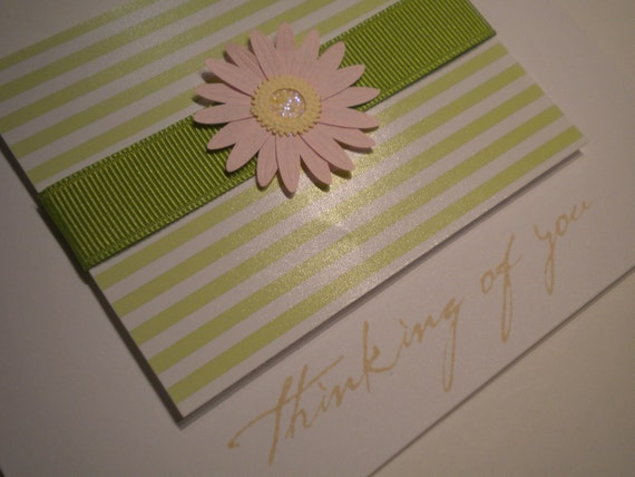 ON SALE Thinking of You Pale Green Striped Note Card with Pale Pink Daisy with glitter center  - Set of 2 - Fun for Spring