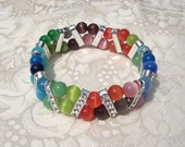 42 Big Cats in Silver, Colorful Bracelet, Cat's Eyes Beads and Rhinstone, Purr-fect for Cat Lovers