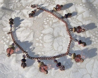 Renaissance Anklet or Adjustable Bracelet with Wood Beads, Deep Purple and Dark Mauve Crystals and Antiqued Copper
