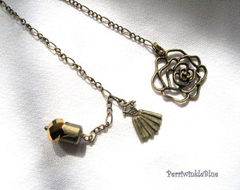 Bookmark Chain, Heather in Bronze Charms and Crystal