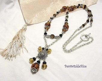 Dark Amber Lampwork Long Renaissance Pendant Necklace