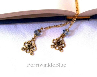 Bookmark Chain with Light Blue and Gold, Lisa