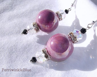 Deep Lavender Pink Ceramic Beads Dangle Earrings with Swarovski Crystals and Rhinestone Studded Silver, Bombshell Beauty