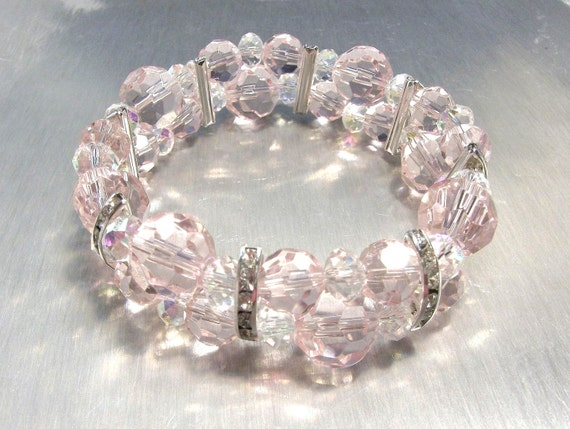 Baby Pink Beautiful Faceted Glass, Crystal and Rhinestone Bracelet