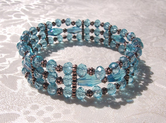 Angeline Renaissance Bracelet Cuff with Three Strands of Blue Lake Crystals and Antiqued Copper