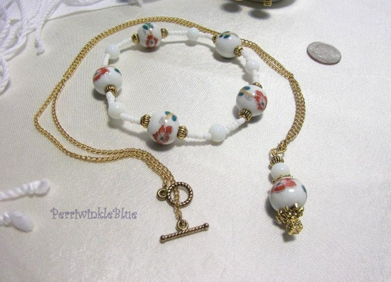 Jewelry Trio, White Porcelain Beads with Red Floral Pattern, Red Bloom in Winter