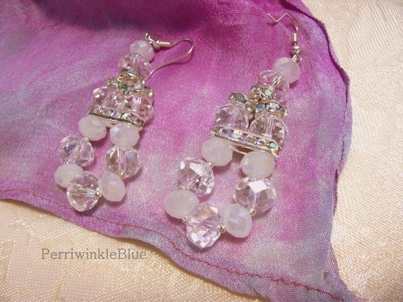 Beautiful Bride Crystal and Silver Earring Chandeliers