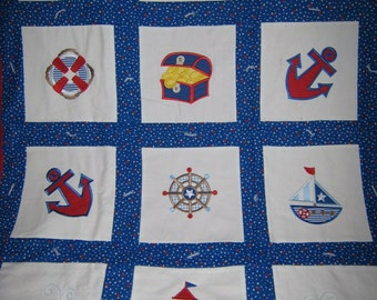 Little Sailor Man Blue Baby Blanket