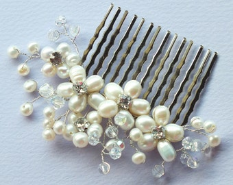 Faery Blossoms - Freshwater Pearl,Swarovski crystal and Rhinestone Bridal Comb