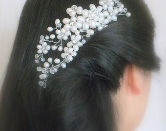 Faery Queen - Freshwater Pearl, Rhinestone and Swarovski Crystal Bridal Comb