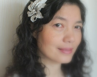 Crystal Lily on Satin- Austrian Rhinestone Satin Head Band Tiara Sash