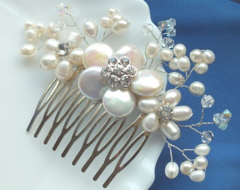 Blossom - Freshwater Pearl and Swarovski Crystal Bridal Comb