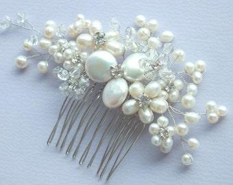 Pearl Dream- Freshwater Pearl,Swarovski Crystal and Rhinestone Bridal Comb