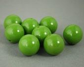 17mm Green Plastic Beads qty 8