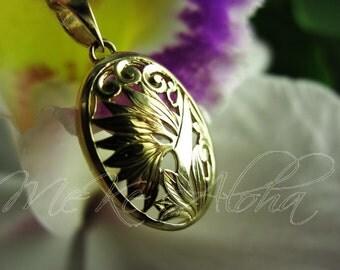 25mm Dome Filigree Hawaiian Bird of Paradise Scroll Pendant-14k Gold, Shiny Finish